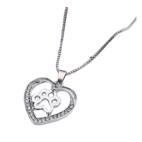 Halskæde - Hjerte med pote