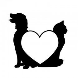 Klistermærke - Hund & kat
