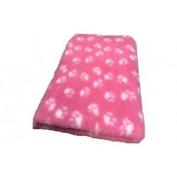 Vetbed rulle med 10 meter - pink med poter