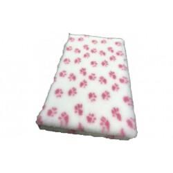 Vetbed rulle med 10 meter - hvid med pink poter
