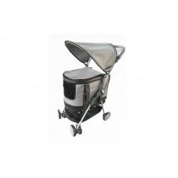 Hunde klapvogn - med aftagelig hundebur - grå
