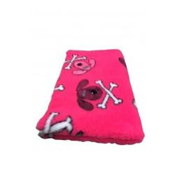 Vetbed - hundehoveder og kødben - pink